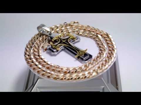Эксклюзивная ювелирная работа крест из золота с бриллиантами, чёрной эмалью и чернением на цепочке