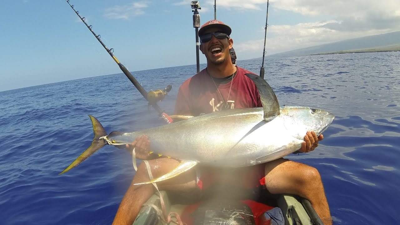 Extreme kayak fishing hawaii 108 ahi youtube for Kayak fishing hawaii