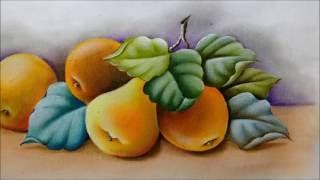 Laranjas, peras e folhas. Pintura em tecido. Cristina Ribeiro