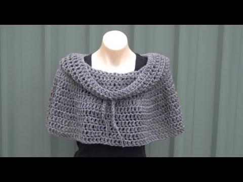 Cowl Neck Poncho Crochet Tutorial Youtube