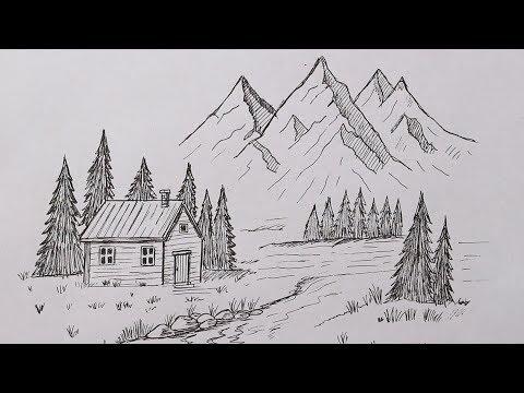 Как нарисовать Пейзаж Очень легко   Простые рисунки