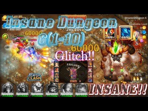 Sasquatch Insane Dungeon 6(1-10) INSANE HERO! GLITCH? Castle Clash