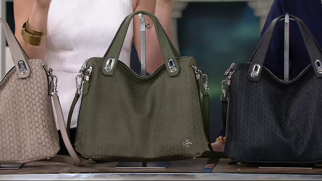 524fa6240832 orYANY Embossed Woven Leather Satchel -Kaley on QVC - YouTube