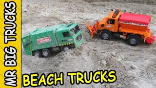 TOY GARBAGE TRUCK & SNOW PLOW AT THE BEACH FOR KIDS: MrBigTrucks101