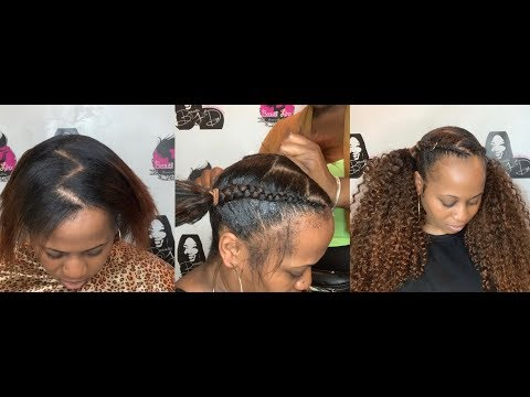 Two Invisible Ponytails with Cornrows with hair From Harlem125