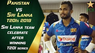 Sri Lanka team celebrate after winning T20I series in Lahore | PCB