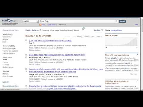 Doing a Medical Subject Heading (MeSH) Search in PubMed