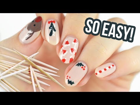 Christmas Nail Art For Beginners Using A TOOTHPICK! - 동영상