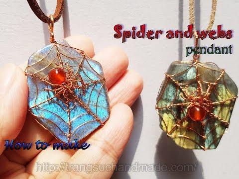 Spider and spider webs with freeform Labradorite slices undrill pendant - Halloween jewelry 419