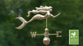 Good Directions 649p Mermaid Weathervane - Polished Copper