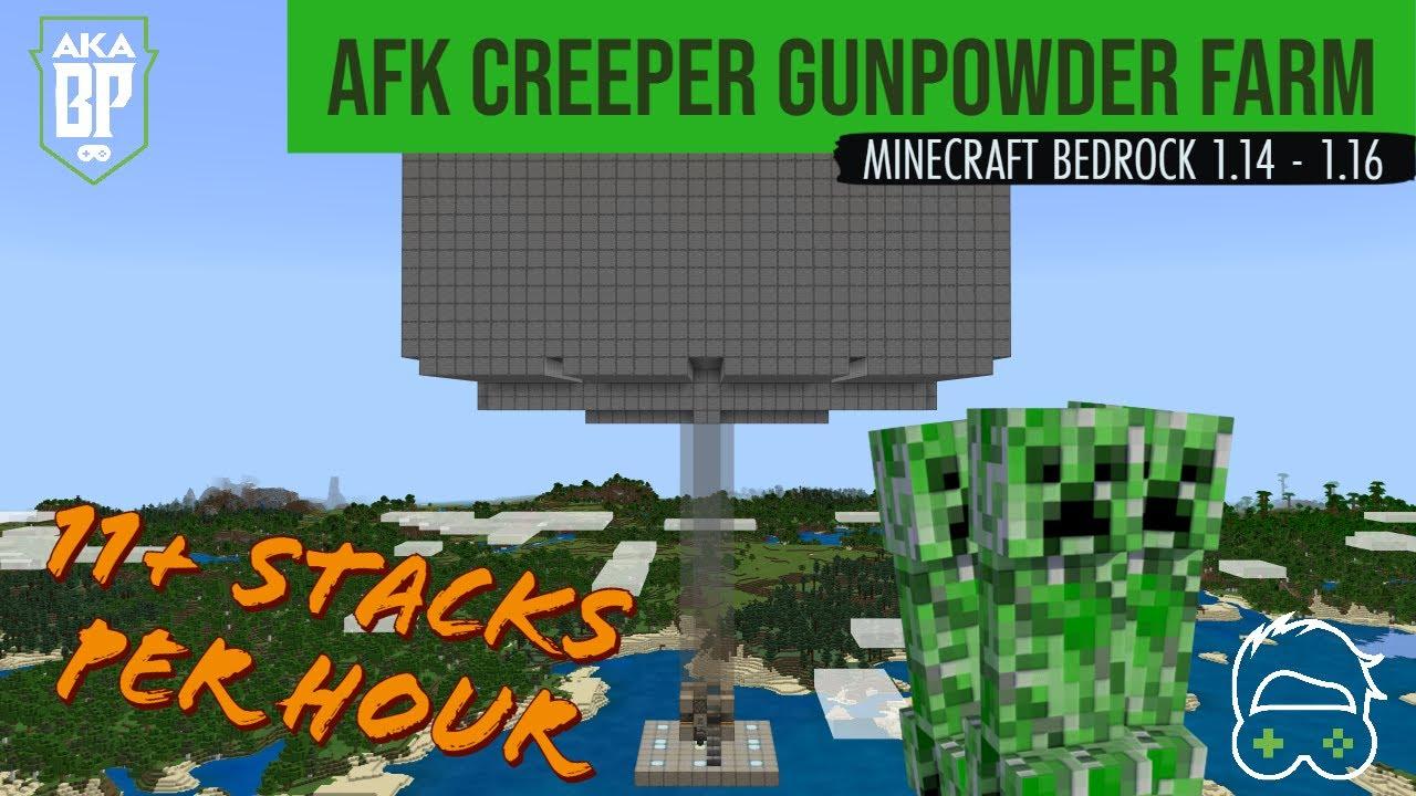 Afk Creeper Gunpowder Farm Minecraft Bedrock 1 14 1 16 Youtube