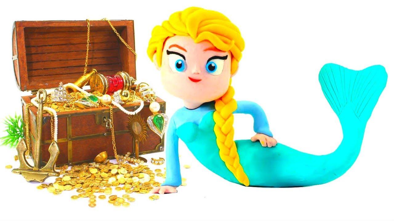 Frozen Elsa Mermaid Princess Play Doh Cartoons Stop Motion Movie Youtube