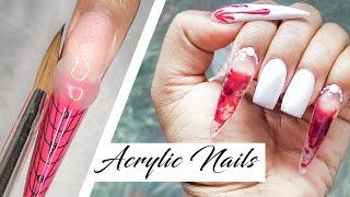 Acrylic Nails Tutorial - Liquid Nails with Nail Forms - Aquarium Nails - Vampire Teeth - Clear Nails