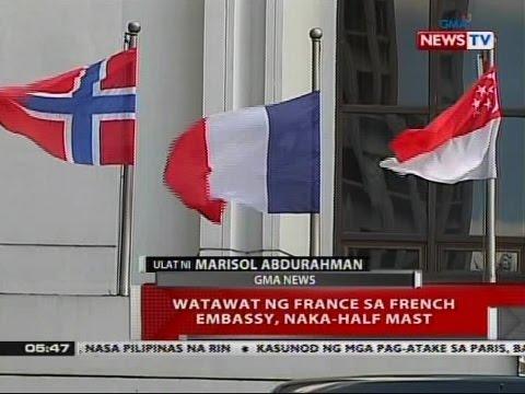 QRT: Watawat ng France sa French Embassy, naka-half mast