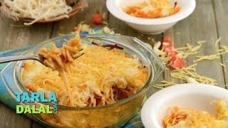 Garlic Spaghetti Bake by Tarla Dalal