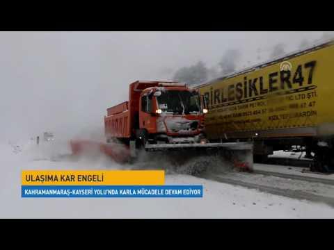 Kahramanmaraş-Kayseri Yolu'nda Karla Mücadele Devam Ediyor