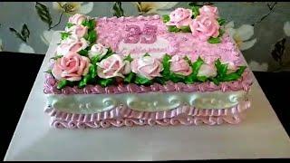 Торт на юбилей для женщины Кремовый торт на 35 летие