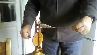 Spinning wool by hand on Dutch charkha -mini spinning wheel
