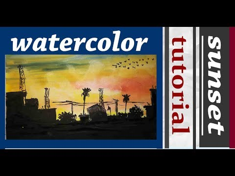 watercolor painting | sunset and city | drawing academy