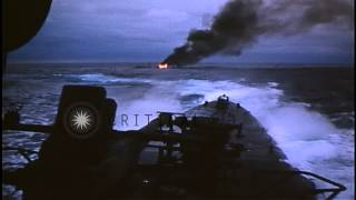 American submarine attacks Japanese ship and freighter underway around Palau Isla...HD Stock Footage