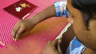 Stone work - Embellishing a Saree border
