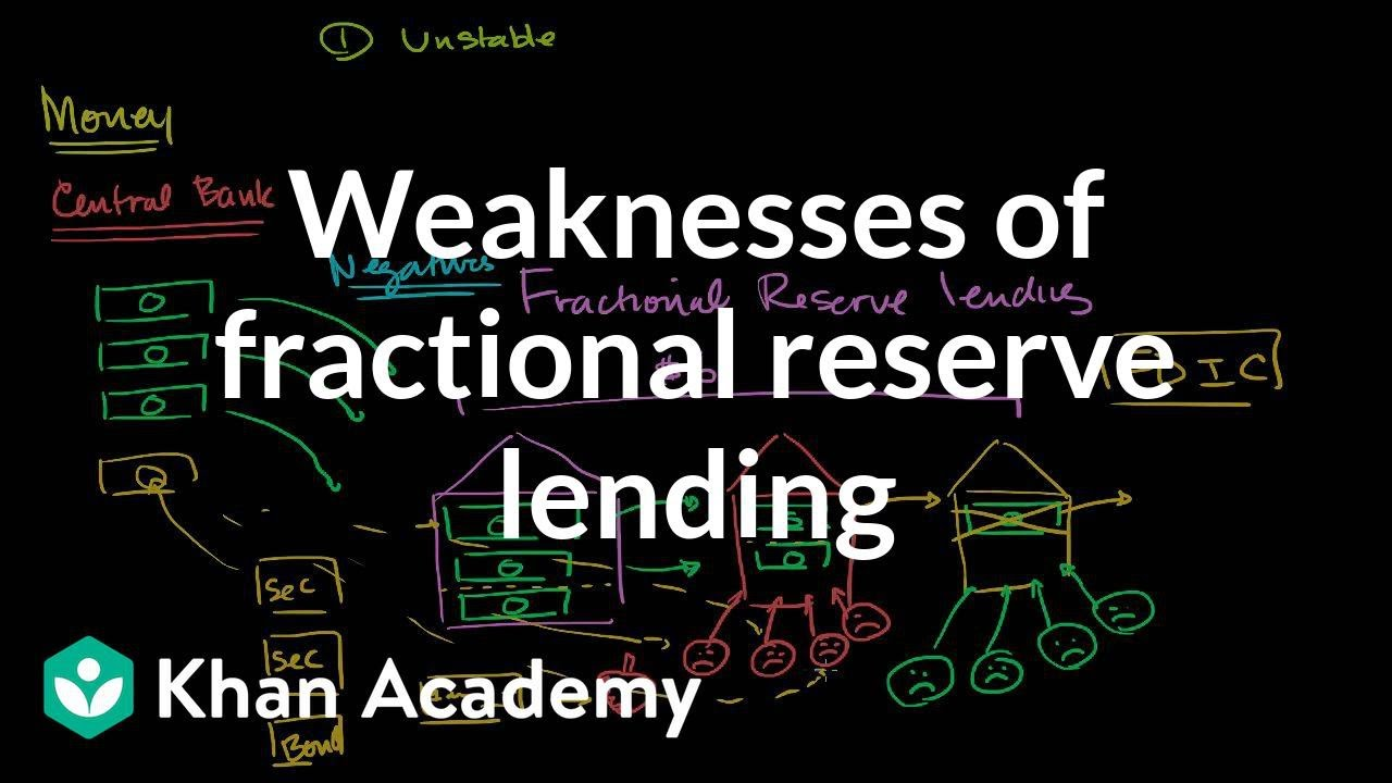 Weaknesses of fractional reserve lending (video) | Khan Academy