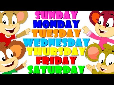 Days Of The Week Song Learning Videos For Children Nursery Rhymes For Kids Monkey Rhymes