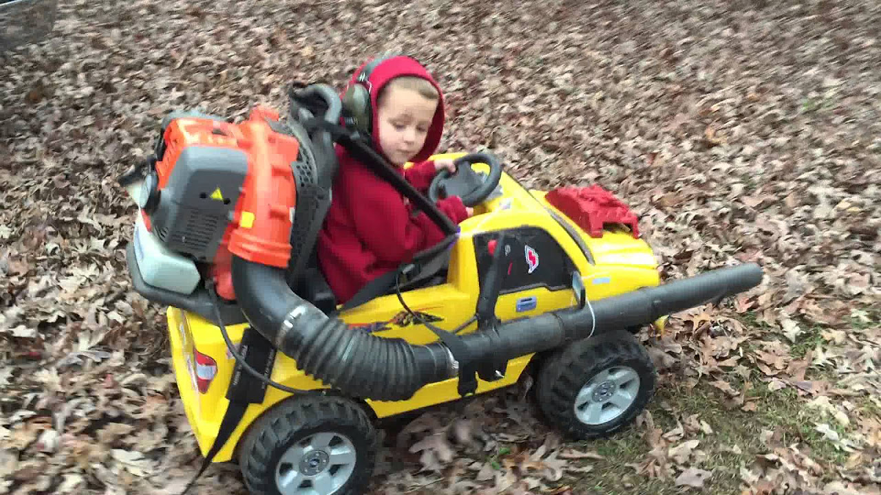 buying your kid one of those pricey power wheels ride on toys isnt so hard to justify when you realize you can strap a gas powered leaf blower to the back