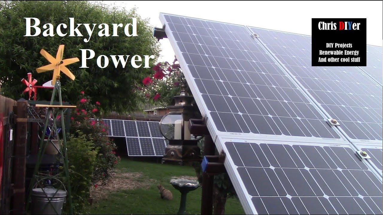 three operational diy off grid backyard solar panel arrays in