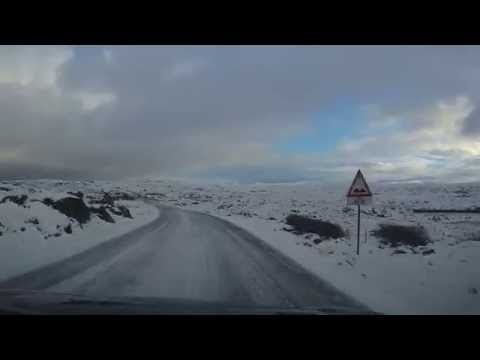 Snowy norway road - dangerous and beautiful road- atlantic ocean road, norway