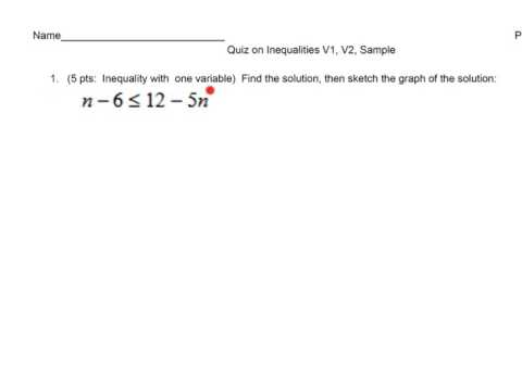 Linear Inequality Review
