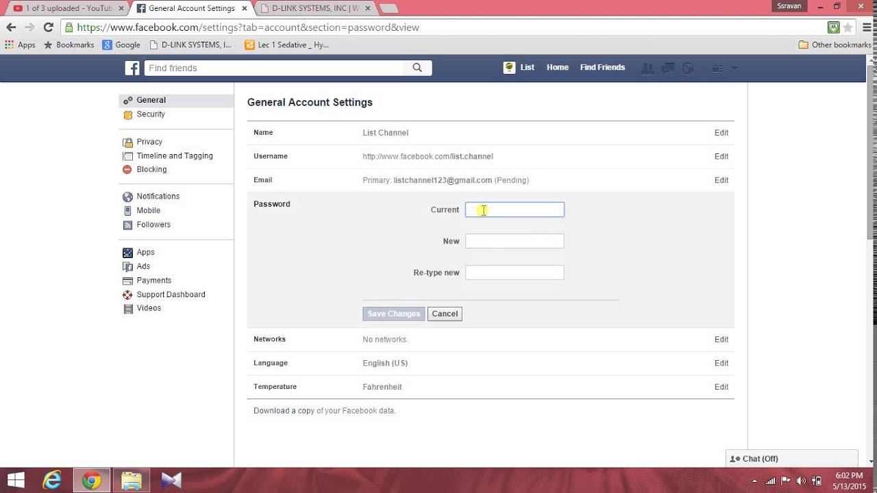 How To Change Facebook Password In Telugu By List Channel
