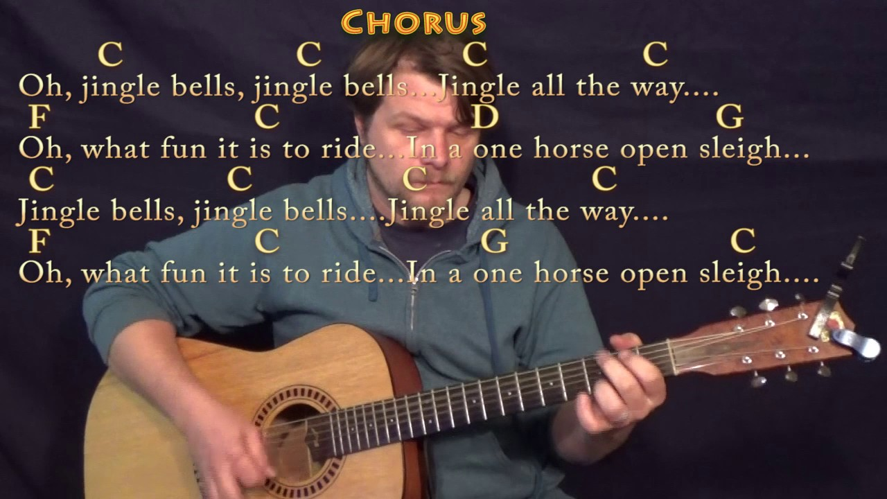 Jingle Bells Christmas Guitar Lesson Chord Chart In C With On