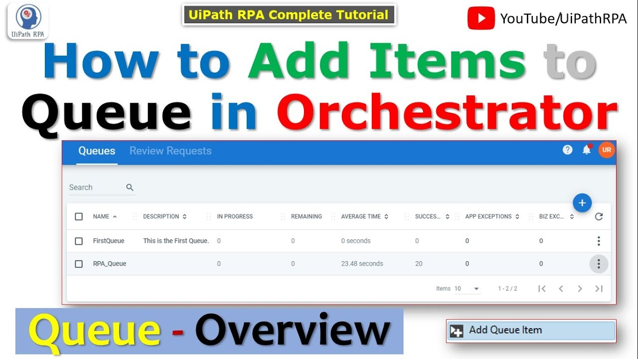 Add Items to Queue in UiPath Orchestrator | How to Create Queue | UiPath  Orchestrator |UiPath RPA