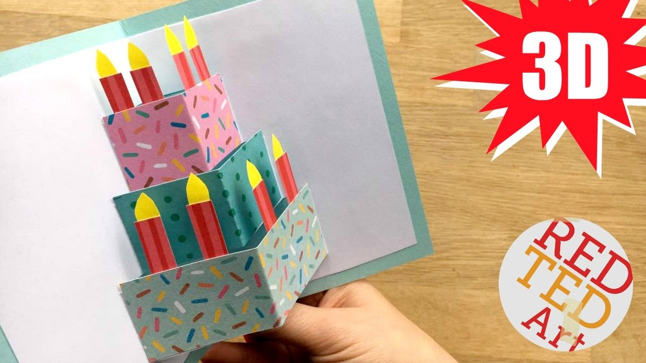 3d Card Making Ideas Part - 22: Easy Cake Card - Birthday Card Design - Weddings - Celebrations - DIY Card  Making Ideas