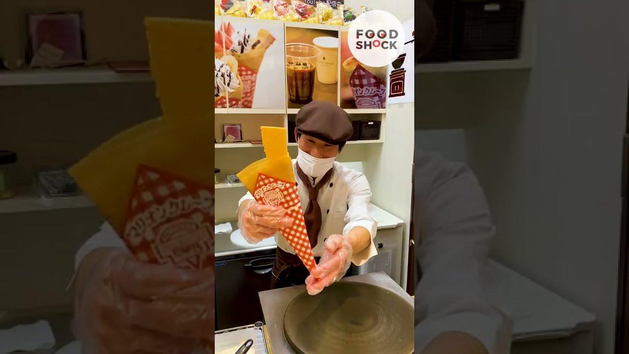【クレープ?お好み焼き?】駄菓子屋発祥のチープでレトロなファストフード Crepe legend / Japanese Street Food #Shorts
