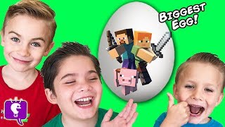 world s biggest minecraft surprise egg toys monster pig attack video gaming fun hobbykidstv