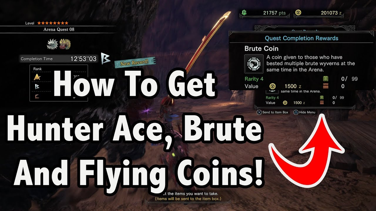Monster Hunter World! -=- Easiest Way To Get HUNTER ACE, BRUTE, AND FLYING  COINS!