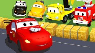 Streifenwagen Feuerwehrauto und Polizeiauto und Rennauto in Autopolis   Lastwagen Bau-Cartoon