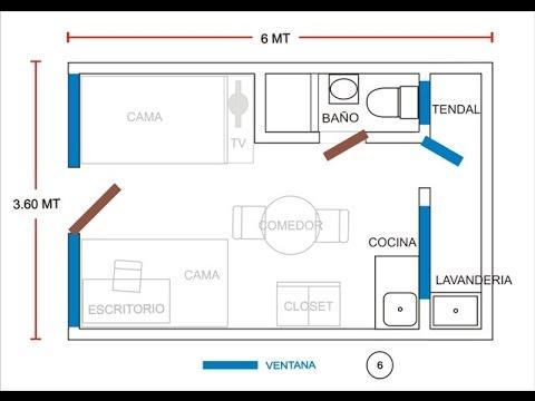 Minidepa 1 pieza 306 c ba o c cocina c lavander a for Plano de pieza cocina y bano
