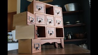 This little chest is made of sapele and soft maple. The drawers are joined using a double dado or half blind lock joint. Overall the
