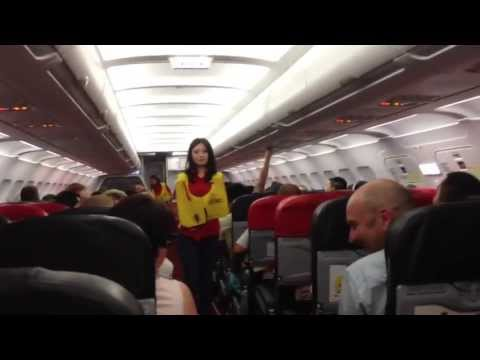 Funniest safety briefing ever with sexy flight attendant!!! Air Asia AK-1922