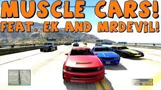 gta 5   massive muscle car highway race   online racing with friends and subscribers