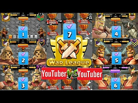 Clan War Leagues Th12 Attack - YouTuber vs YouTuber - Champion 1 - Round 7(Season 7) | Clash Of Clan