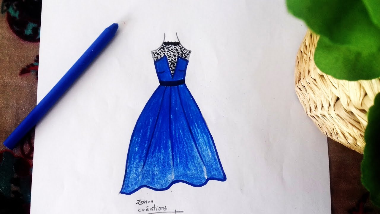 blue dress drawing youtube