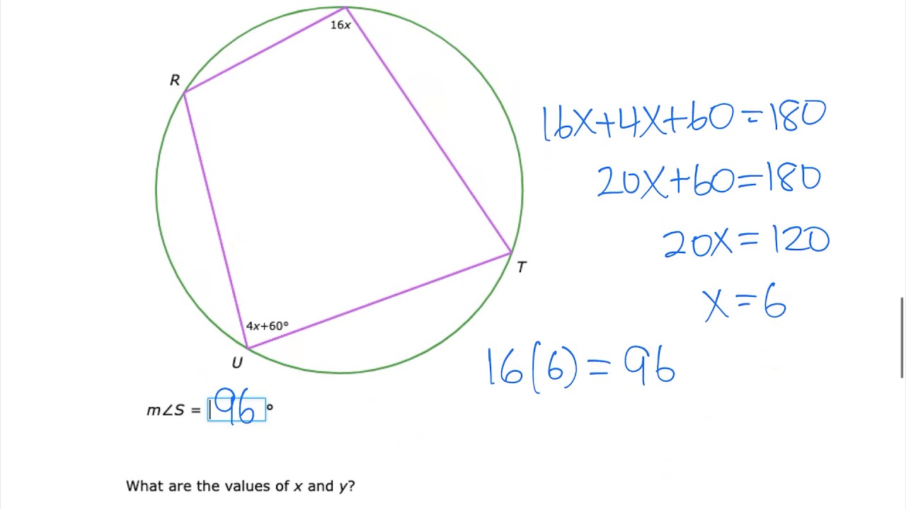 Acgeo IXL angles in inscribed quadrilaterals I - YouTube