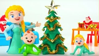 Frozen Elsa Makes A Christmas Tree Superhero Babies Play Doh Cartoons Stop Motion Animations
