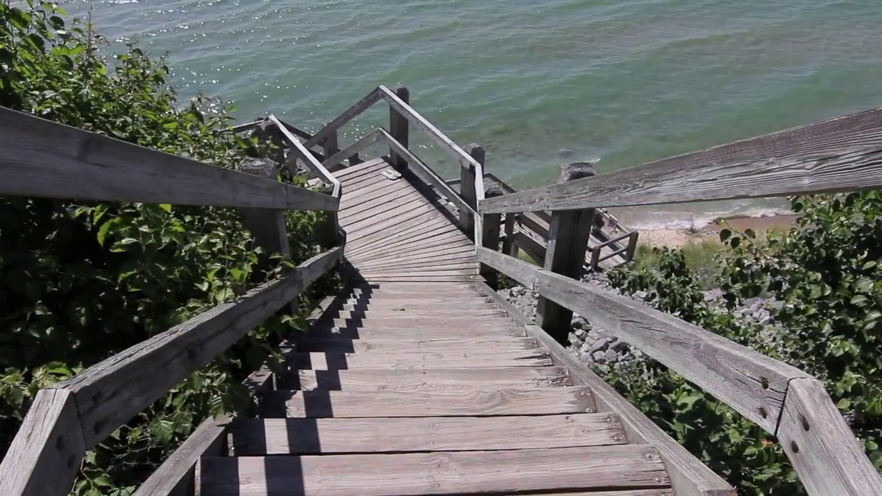 The steps from Orchard Beach State Park, Manistee, MI to