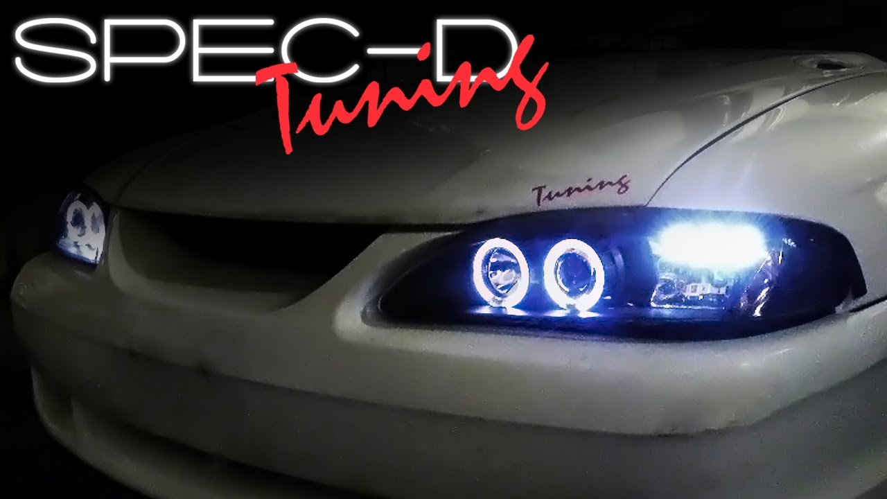 Specdtuning installation video 1994 1998 ford mustang 1 piece projector headlights youtube