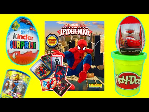 ultimate-spider-man-sticker-album-&-sticker-packs-toy-review-opening-panini-&-kinder-surprise-eggs